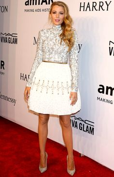 Blake Lively in a white embroidered Chanel Haute Couture dress