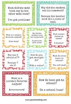 Printable Lunch Box Jokes To Bring a Smile At Lunchtime! The Country Chic Cottage – DIY, crafts, recipes, home decor, farmhouse style Printable Lunch Box Jokes To Bring a Smile At Lunchtime! Back to School Lunch Box Jokes (Printable) Kids Lunch For School, Back To School, School Lunches, School Jokes, Lunchbox Notes For Kids, Funny School, Kid Lunches, School Fun, Healthy Lunches
