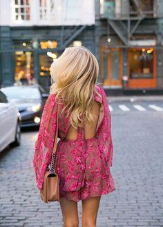 Romper: pink tumblr open back backless long sleeve long sleeves bag brown bag floral pink floral