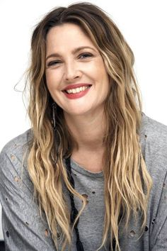 Drew Barrymore ombre balayge hippie hair