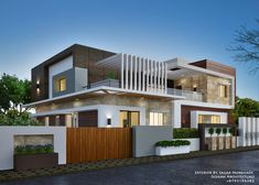 Exterior By, Sagar Morkhade (vdraw Architecture) on Amazing Exterior Ideas 3236 Modern Bungalow Exterior, Modern Bungalow House, House Front Design, House Design Photos, Minimalist House Design, Modern House Design, Latest House Designs, Appartement Design, Modern Architecture Design