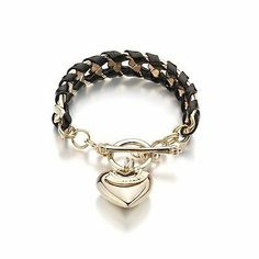 Gold Chain Leather Weave Fashion Bracelet (Black) . $14.48. Black leather like material fashion bracelet.  Measurement: 7 in length.. Fast Shipping. Gold-Plated. Toggle closure. Heart Charm