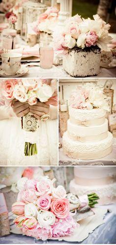 Pink shabby vintage wedding style inspiration {Photo: Purple Martini, Styling, Decor, & Flowers: Rachel A Clingen Wedding & Event Design}