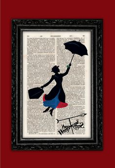 Flying Mary Poppins Silhouette Art Print - Weathercock Poster Book Art Disney Dorm Room Print Gift Print Wall Decor Poster Dictionary Print on Etsy, $9.81
