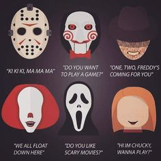 Why is Michael Myers not on here? Horror Movie Quotes, Horror Movies Funny, Horror Movie Characters, Classic Horror Movies, Scary Movies, Horror Movie Tattoos, Comedy Movies, Halloween Drawings, Geek Decor