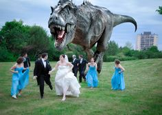 Dino Attack, the couple thought it would be fun to have a Dinosaur chase their wedding party