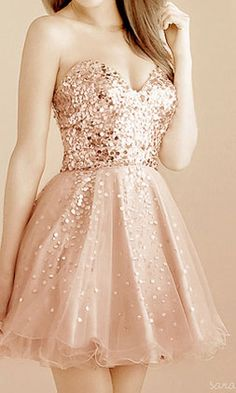 Gold Sequin Sweetheart Short Prom Dress