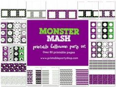 Free Halloween Party Printables Monster Mash-- Complete Set-  www.printablepartyshop.com patterned paper, cupcake toppers, fancy labels, banner & more  kids party ideas & inspiration