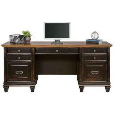 Espresso and Golden Oak Vintage Office Desk - Hartford