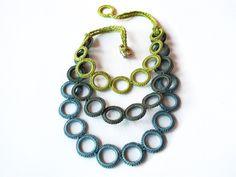 Bib fiber necklace / Crochet necklace / by AliquidTextileJewels