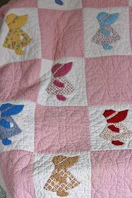 """I had one of these that my great, great, great grandmother made. it survived a house fire in a Lane cedar chest and then """"disappeared"""" somewhere. Discovering My Lane Family Roots: Treasure Chest Thursday: My Sunbonnet Sue Quilt Quilting Projects, Quilting Designs, Sewing Projects, Sewing Ideas, Baby Girl Quilts, Girls Quilts, Applique Quilts, Embroidery Applique, Baby Quilt Patterns"""