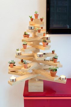 JOELIX.com | Plywood Christmas tree with succulents and cacti