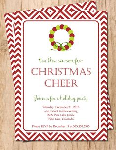 tis the season for CHRISTMAS Cheer JPEG or PDF Digital Holiday Party Invitation