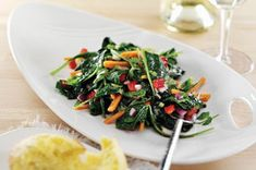 Want more kale on the menu? This salad makes it easy. Add veggies, some fresh cilantro and a sweet-spicy vinaigrette—and expect requests to make it again. Kale Salad Recipes, Soup Recipes, Healthy Recipes, Healthy Food, Salad Bar, Soup And Salad, Tasty Dishes, Side Dishes, Warm Kale Salad