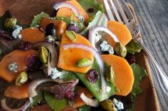 Winter Persimmon Salad with Honey Glazed Pistachios and Blue Cheese
