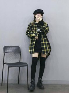 Edgy Outfits, Mode Outfits, Grunge Outfits, Girl Outfits, Fashion Outfits, Fashion Ideas, Tokyo Street Fashion, Tokyo Street Style, Korean Street Fashion