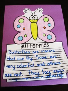 Butterflies writing craft that is no prep! Kids just write, color, cut, and glue - perfect easy bulletin board for learning about the life cycle of a butterfly