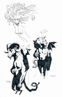 Mike Mignola's sketchbook pages fromthe Hellboy: The Right Hand... ✤ || CHARACTER DESIGN REFERENCES | キャラクターデザイン | çizgi film • Find more at https://www.facebook.com/CharacterDesignReferences & http://www.pinterest.com/characterdesigh if you're looking for: #grinisti #komiks #banda #desenhada #komik #nakakatawa #dessin #anime #komisch #manga #bande #dessinee #BD #historieta #sketch #strip #cartoni #animati #comic #komikus #komikss #cartoon || ✤