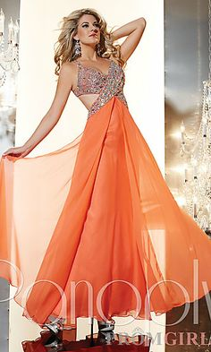 Long V-Neck Gown with Side Cut Outs at PromGirl.com