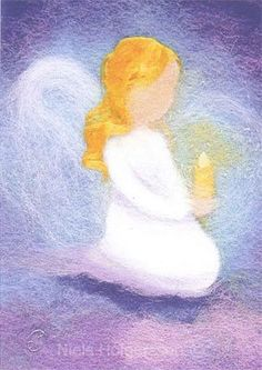 Célia Portail - Little Angel With Blond Hair And Candle Lazure Painting, Fabric Painting, Felt Pictures, Angel Pictures, Chalkboard Drawings, Angel Art, Felt Art, Christmas Art, Belle Photo