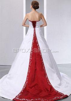 Luxus Satin Ärmellos A-Linie Brautkleid mit Lange Schleppe und Stickrei verziert