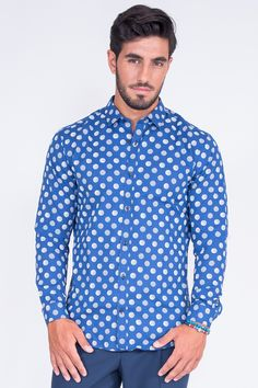 Slim Fit Shirt In Big Polka Dot
