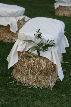 Hay Bale Seating / Olive Branch Foliage - Event Styling by Tania Saxon for The Props Dept., Adelaide, South Australia