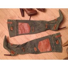 SCHUTZ thigh-high Denim/Leather BOOTS RARE, out of production. Made in Brazil. Made with denim and genuine leather. Practically new. I never wear them, but I can't seem to let them go. ...Well... I will for a good price ...since they're designer, unique and can't be found anywhere else. Dear viewer,  Maybe these are meant for YOU! If, not I'll just keep marveling at their beauty in my closet.  SCHUTZ  Shoes