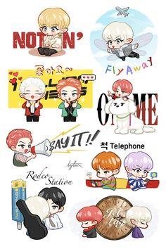 Exo Stickers, Printable Stickers, Cute Stickers, Exo Chanyeol, Kpop Exo, Exo Cartoon, Exo Anime, Exo Album, Exo Lockscreen