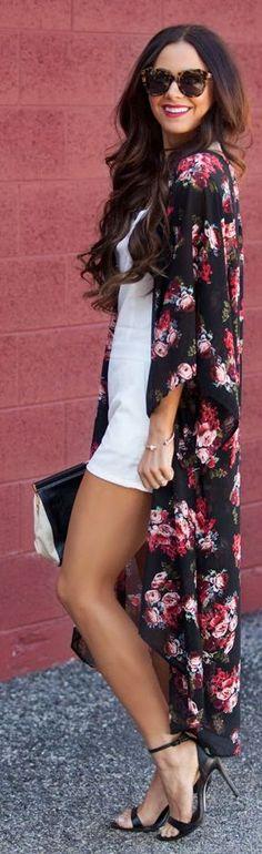 Windsor Black Fresh Floral Maxi Kimono