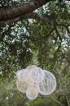 hanging string balloons reception-decor