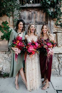 20 Mismatched Bridesmaid Dresses for 2020 Mismatched bridesmaids wear shona joy with vibrant unstructured pink bouquets Jewel Tone Bridesmaid, Mismatched Bridesmaid Dresses, Wedding Bridesmaids, Wedding Bouquets, Gold Wedding Dresses, Autumn Bridesmaid Dresses, Autumn Bridesmaids, Wedding Centerpieces, Bridal Dresses