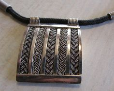 Woven Look Sterling Silver Necklace on a Cloth by ShadowTrading