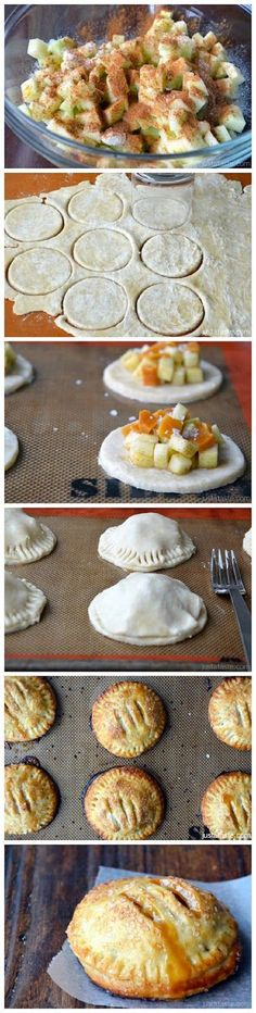 Salted Caramel Apple Hand Pies Recipe ~ Time consuming but delicious! Great for a party or anytime you need finger foods. They're not called hand pies for nothing! Think Food, I Love Food, Fall Recipes, Sweet Recipes, Mini Pie Recipes, Fall Dessert Recipes, Fall Desserts, Pumpkin Recipes, Apple Hand Pies