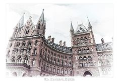 "St. Pancras Hotel is an architectural digital watercolor illustration of the iconic hotel above the King's Cross railway station. Also known as the home platform 9 3/4.  The artwork was worked up from a photograph taken in mid June 2015 as I was riding my bike back to a hostel from the British National Museum.  The original image was ""painted"" to be printed at 70"" w x 48"" H and was intended to be an area piece for a livingroom or office."