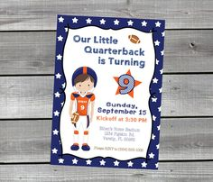 Personalized Our Little Quarterback Football Birthday Party Invitation by 7MillionWonders on Etsy https://www.etsy.com/listing/466407769/personalized-our-little-quarterback
