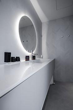 Mutina Mews Chalk Chevron -tiles on the bathroom wall. Hotelroom is called Gaissa. Chevron Tile, Carrara, Bathroom Wall, Tiles, Hotels, Boutique, Room Tiles, Tile, Backsplash