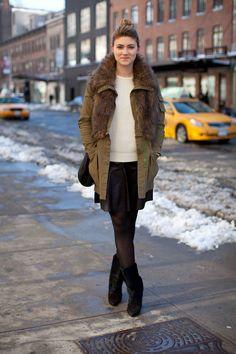Megan Reynolds pairs a furry anorak with Isabel Marant boots.   - HarpersBAZAAR.com