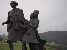 """""""The Emigrants Statue commemorates the flight of Highlanders during the clearances, but is also a testament to their accomplishments in the places they settled. Located at the foot of the Highland Mountains in Helmsdale, Scotland."""" There's an identical on in Winnipeg, Canada."""