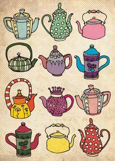 Teapot Tattoo, Teapot Design, Buch Design, Tea Art, Poster Prints, Art Prints, Handmade Copper, Print Artist, Cool Artwork