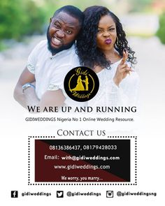 You asked for it and we delivered it!!! A platform to help intending couples and wedding planners plan their wedding seemlessly and connect with wedding vendors acrosss Nigeria.  We have you covered with lots of wedding inspiration tips stories and other services to make your wedding a success. Visit our new website to find out more www.gidiweddings.com Link in bio  #gidiweddings #up #newsite #weddingvendor #weddings #vendors #couples