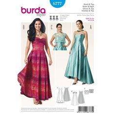 Fancy evening gowns with strapless bodice held in place by sewn-in stays or nicely draped bust-piece. Flared panels and generously draped folds add body to the skirt. Short lace top with rearward loop closure. A Burda Style sewing pattern.