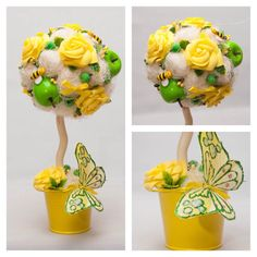 Spring topiary wiyh apples and bees Decorative by KseniyaRevta