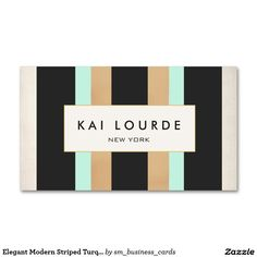 Elegant Modern Striped Turquoise, Black and Tan Double-Sided Standard Business Cards (Pack Of 100)Great striped pattern business card for cosmetologists, estheticians, makeup artists, hair stylists, hairdressers, fashion boutiques, beauty salons and more.