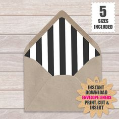 Black And White Horizontal Stripe Envelope Liners  European Style