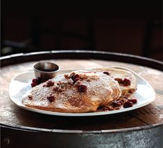Revolution Brewing's cherry-and-beer pancakes, made with Eugene porter. | Cherry-Porter Pancakes at http://draftmag.com/recipes/detail/193