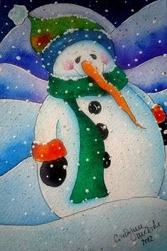 "ORIGINAL SNOWMAN WATERCOLOR 4"" x 6""   ...thank you for looking!"