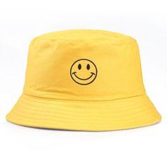 Look Com Bucket Hat, Mens Bucket Hats, Bucket Cap, Cool Bucket Hats, Bucket Hat Outfit, Bob Chapeau, Mode Adidas, Cartoon Smile, Yellow Smiley Face