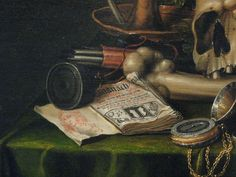 Edwaert Collier (1643-1710) Vanitas - Still Life with Books and Manuscripts and a Skull (1663)