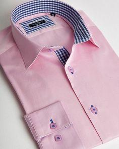 Light pink italian shirt for men with blue vichy cuffs and collar interior Formal Shirts, Casual Shirts For Men, Italian Shirts, Best Leather Jackets, Only Shirt, Mens Designer Shirts, Plain Shirts, Latest Mens Fashion, Custom Made Shirts
